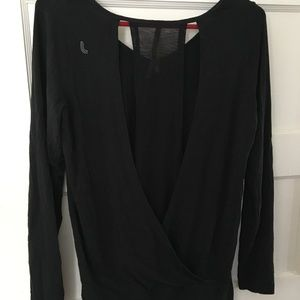 Lole Black Split  Back Long Sleeve Shirt Organic S